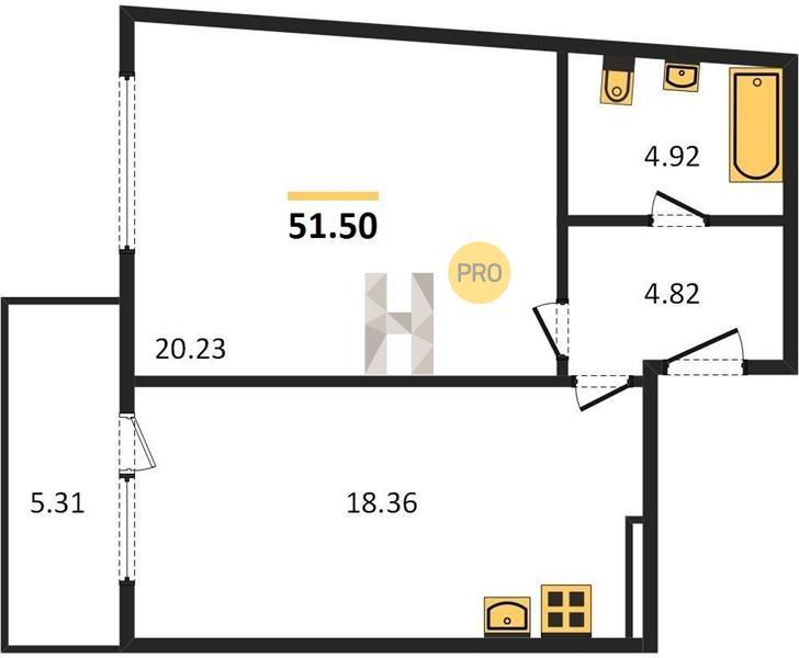 1-комнатная квартира в ЖК Одинбург
