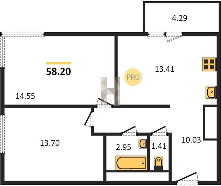 2-комнатная квартира в ЖК Одинград