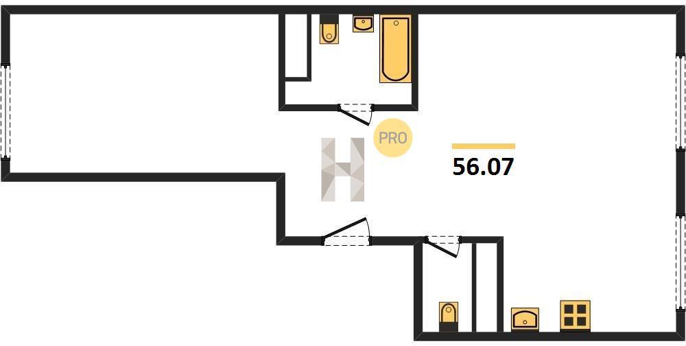 2-комнатная квартира в ЖК Домашний