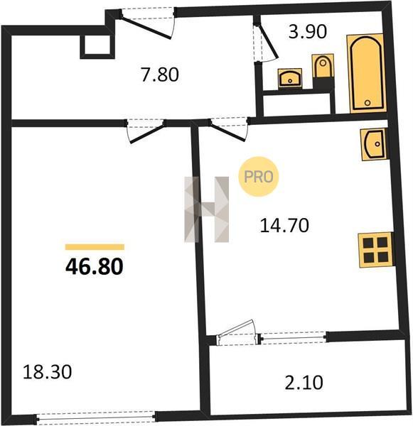 1-комнатная квартира в ЖК Серебряный парк