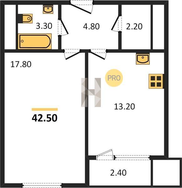 1-комнатная квартира в ЖК Спутник в Строгино