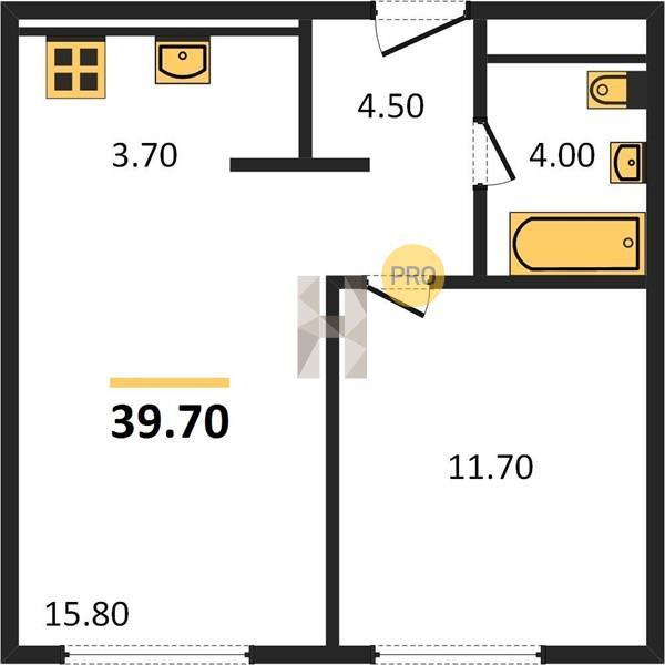 1-комнатная квартира в ЖК Первый квартал