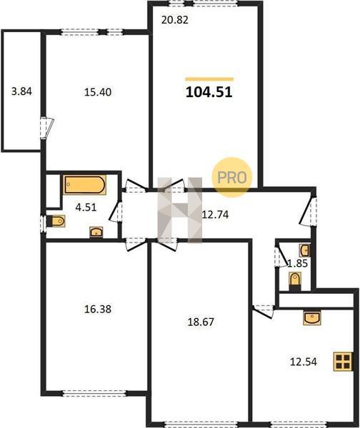 4-комнатная квартира в ЖК Преображение